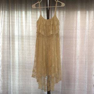 Off white lace high low maxi dress